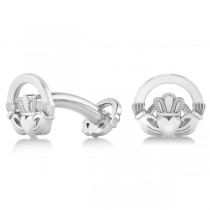 Irish Claddagh Cufflinks Plain Metal 14k White Gold