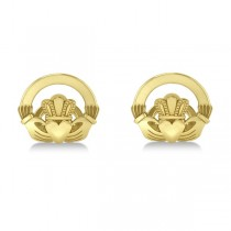 Irish Claddagh Cufflinks Plain Metal 14k Yellow Gold