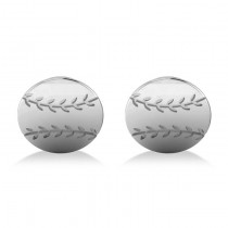 Round Baseball Cuff Links 14K White Gold