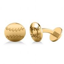 Round Baseball Cuff Links 14K Yellow Gold