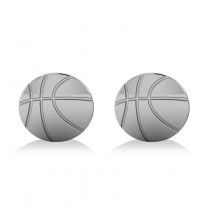 Round Basketball Cuff Links 14K White Gold