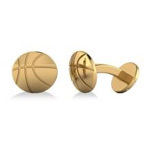 Round Basketball Cuff Links 14K Yellow Gold