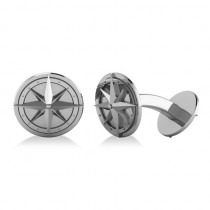 Round Nautical Compass Cuff Links 14K White Gold