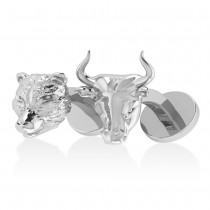 Bull and Bear Cufflinks 14k White Gold
