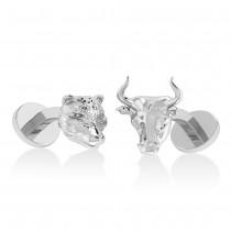 Bull and Bear Cufflinks 14k White Gold