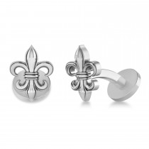Fleur De Lis Cuff Links 14k White Gold