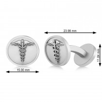 Men's Caduceus Medical Symbol Cufflinks 14k White Gold
