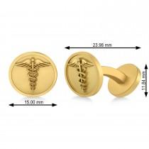 Men's Caduceus Medical Symbol Cufflinks 14k Yellow Gold