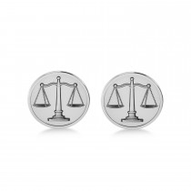 Scales of Justice Cuff Links 14k White Gold