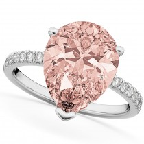 Custom-Made Pear Cut Halo Morganite & Diamond Engagement Ring 14K White Gold 2.51ct