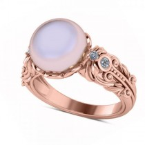 Custom-Made Diamond & Freshwater Pearl Fashion Ring in 14k Rose Gold (10mm) (0.10ct) (Center Pearl As White As Can Be/ Natural White Finish)