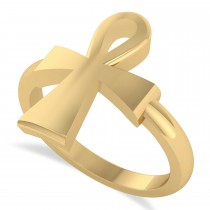 Custom-Made Ankh Egyptian Cross Ring 14K Yellow Gold