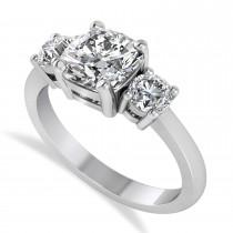 Custom-Made Cushion & Round 3-Stone Diamond Engagement Ring Platinum (2.50ct)