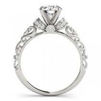 Custom-Made Diamond and Ruby Antique Style Engagement Ring Setting 14k White Gold (0.12ct) (Rose Gold Bow)