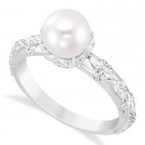 Custom-Made Vintage-Inspired Freshwater Yellow Pearl & Diamond Ring 14k White Gold (7.0-7.5mm)