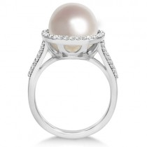 Custom-Made Akoya Pearl and Diamond Halo Ring 18K W. Gold (8mm)