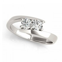 Custom-Made Diamond Solitaire Tension Two Stone Ring 18k White Gold
