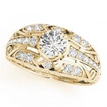 Custom-Made Diamond Art Deco Engagement Ring 18k Yellow Gold (0.98ct)