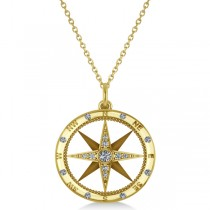 Custom-Made Compass Necklace Pendant Diamond Accented 18k Yellow Gold (0.38ct)