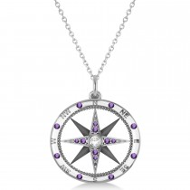 """Custom-Made Compass Pendant Amethyst & Diamond Accented 18k White Gold (0.19ct) with 20"""" chain"""