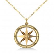 Custom-Made Nautical Compass Pendant Necklace Plain Metal 14k Yellow Gold - No Chain