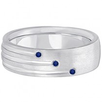 Custom-Made Mens Shooting Star Diamond & Blue Sapphire Wedding Ring Band Palladium (0.15ct)