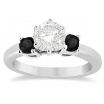 Custom-Made 3 Stone White & Black Diamond Engagement Ring 14K White Gold (0.30 ctw)