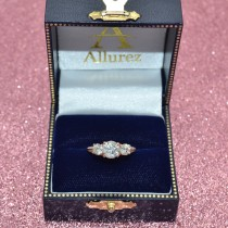 Custom-Made 3 Stone Diamond and Opal Engagement Ring with Side Stones 14K Rose Gold 2.00ct