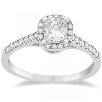Custom-Made Diamond Halo Square Engagement Ring 14K White Gold (0.26ct)