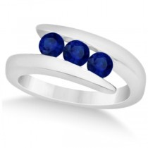 Custom-Made Blue Sapphire and Diamond 3 Stone Journey Ring Tension Set 14K White Gold 1.00ctw