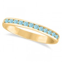 Custom-Made Aquamarine Channel-Set Semi-Eternity Ring Band 14k Yellow Gold (0.40ct)