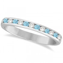 Custom-Made Aquamarine & Amethyst Semi-Eternity Channel Ring 14k White Gold (0.40ct)