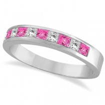 Custom-Made Princess Channel-Set Pink Sapphire Ring Band 14k White Gold