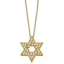 Custom-Made Jewish Star of David Peridot Pendant Necklace 14k Yellow Gold (0.35ct)