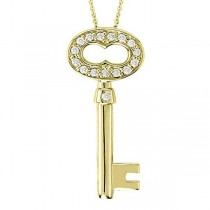 Custom-Made Diamond Key Pendant Necklace 14k White Gold (0.15ct)