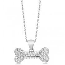 Custom-Made Vertical Pave Diamond Dog Bone Pendant Necklace 14K White Gold (0.80ct)