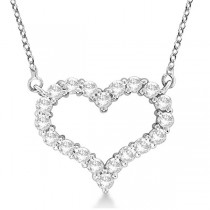 Custom-Made Open Heart Diamond Pendant Necklace 14k White Gold (1.50ct)