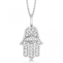 Custom-Made Diamond and Blue Sapphire Hamsa Pendant Necklace 14k White Gold (0.32t)