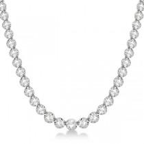 Custom-Made Eternity Diamond And Black Diamond Tennis Necklace 14k White Gold (10.35ct)