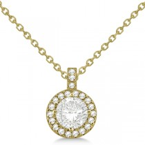 Custom-Made Diamond Halo Pendant Necklace Round Solitaire 14k Yellow Gold (1.00ct) (Jump Chain like Style IP162)