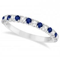 Custom-Made Blue Sapphire & Diamond Wedding Band Anniversary Ring in 14k White Gold 1.0ctw
