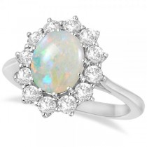 Custom-Made Oval Shape Opal & Diamond Accented Ring in 14k Yellow Gold (3.60ctw)