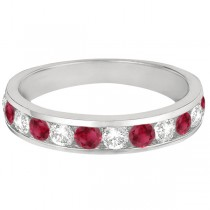 Custom-Made Channel-Set Ruby & Diamond Ring Band 14k White Gold (1.20ctw)
