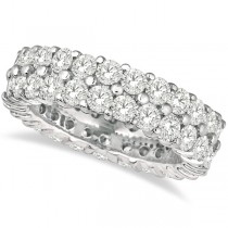 Custom-Made Two-Row Wide Band Diamond Eternity Ring Platinum (4.50ct) Size 5.25