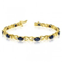 Custom-Made Oval Sapphire & Diamond XOXO Link Bracelet 14k Yellow Gold (7.00ctw) in 7.5 Inchs