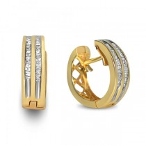 Diamond Accented Huggie Earrings in 14k Yellow Gold (0.30ct)