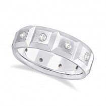 Mens Satin Finish Diamond Wedding Ring Band 14k White Gold (0.50ct)