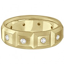Mens Satin Finish Diamond Wedding Ring Band 14k Yellow Gold (0.50ct)|escape
