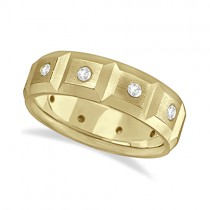 Mens Satin Finish Diamond Wedding Ring Band 18k Yellow Gold (0.50ct)