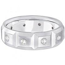 Mens Satin Finish Diamond Wedding Ring Band Palladium (0.50ct)